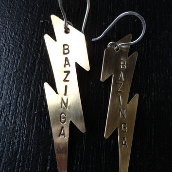 Brass Lightning Bolt Earrings BAZINGA Big by SugarandSoySauce