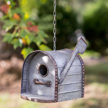 Rustic Country Distressed  Mailbox Metal Birdhouse