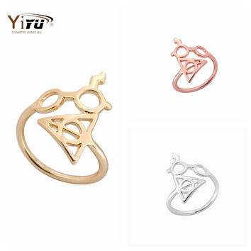 1pc New Fashion Gold Silver and Rose Harry Potter Lightning Scar Glasses Deathly Hallows Rings for Women R156
