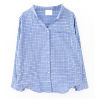 Plaid Stand Collar Pocket Blouse