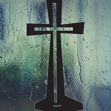 Bible Cross with Stand Die Cut Vinyl Wall Decal - Permanent Sticker