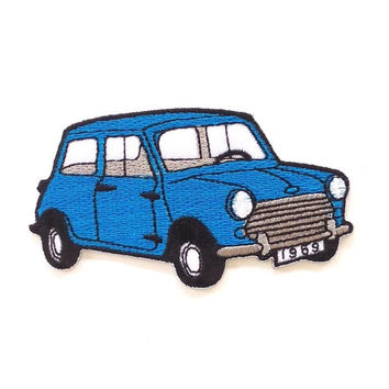 Mini Austin Classic Car Blue Iron on Patch Size 9.1 x 5.3 cm