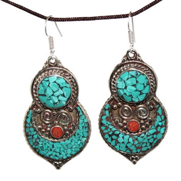 Coral dot turquoise Earring