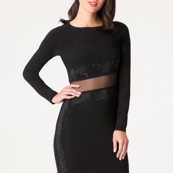 bebe Womens Alex Embellished Dress Black