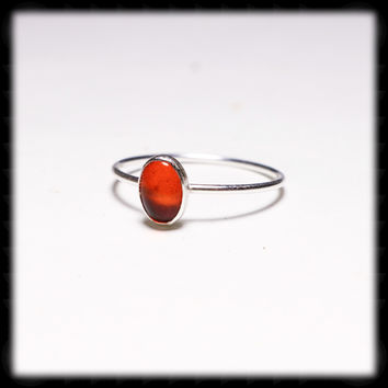 Fossilized Amber 7mm x 5mm Sterling Silver Ring