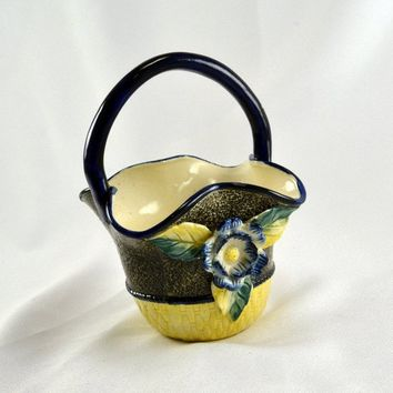 Majolica Basket - Applied Blue Flower & Applied Red Flower - Cobalt Blue Trim - Yellow Basket Weave - Mottled Black