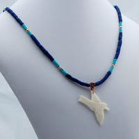 Lapis Turquise & Copper White Bird Necklace