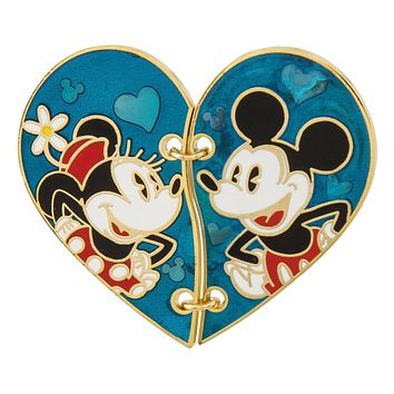 Disney Parks Mickey and Minnie Stitched Half Heart Pin New with Card