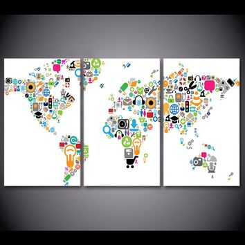 Social Media Internet World Large Canvas Wall Art Print Wall Picture