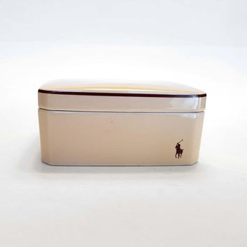 Vintage Polo Box Made in Japan for Warner Lauren Trinket Jewelry Box Dresser Vanity Powder RARE