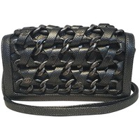 Chanel Gunmetal Caviar Leather and Chain Woven Classic Flap Shoulder Bag