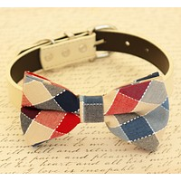 Plaid Dog Bow tie attached to collar, Dog birthday gift, Pet wedding accessory