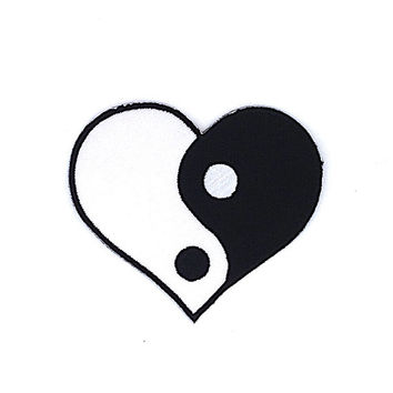 Ying Yang Heart iron on patch Size 8.2 x 7.5 cm