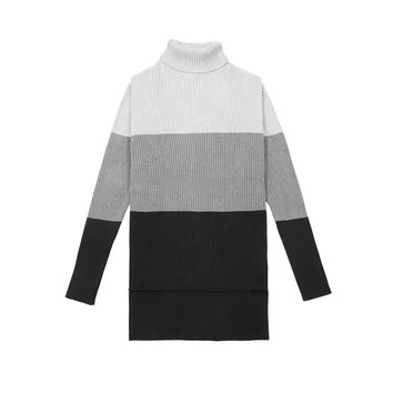 KT218 Colour Block Turtle Neck Sweater - Black/Grey/Charcoal