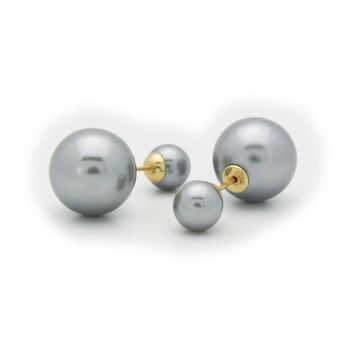 Double Sided Faux Grey Pearl Tribal Earrings | 925 Sterling Silver