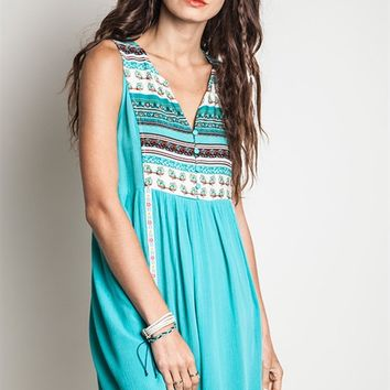 Umgee Sleeveless Emerald Peasant Dress