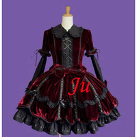 Free Shipping Sissy Maid Gothic Lolita Punk Fashion Velvet Dress Cosplay Costume Tailor-made [CK751] - $140.16 : Fond Cosplay