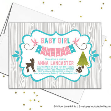 Wood baby shower invitations baby girls, rustic baby shower invites, deer invitation, pink turquoise gray, printable or printed - WLP00709