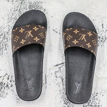 3e251245a9bf Louis Vuitton Waterfront Mule Sandals Black Brown Slides Slipper