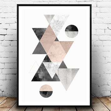 Watercolor print, Abstract poster, Scandinavian print, mid century modern, pink gray, triangles wall decor, interior decor, geometric print