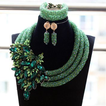 Latest Design Mixed African Beads Party Wedding Jewelry Set Teal Green Nigerian Wedding Costume Jewelry Set Free Shipping WE085