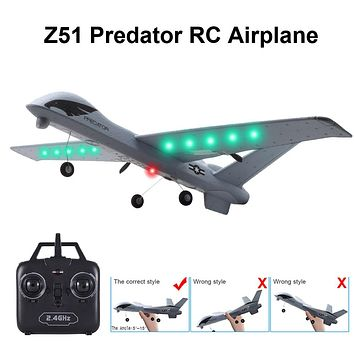 RC Airplane Plane Z51 Glider 2.4G Flying Model with LED Hand Throwing Wingspan Foam Plane
