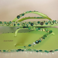 Rhinestone Bling Flip Flop Sandals by EVRhinestones on Etsy