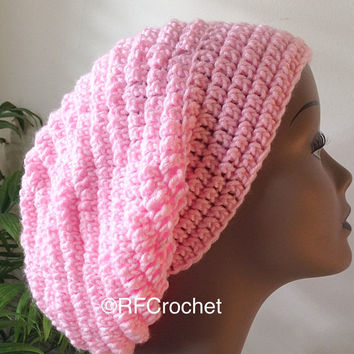 Light Pink Slouchy Beanie | Adult Crochet Hat | Pink Crochet Beanie | SOFT | Powder Pink | Bad Hair Day | Winter Accessories | Pink Tam
