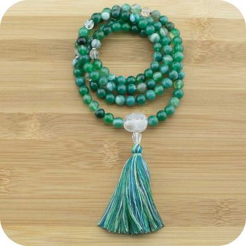 Green Sardonyx Agate Mala with Ice Quartz Crystal