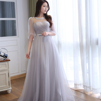 Real Pictures Transparent Silver Tulle Sleeves A-line Pleated Long Prom Dress Elegant Women Party Dress