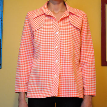 Vintage Shirt Houndstooth Western Shirt Button Up Peachy Pink 60s Rodeo Cowgirl Cowboy Men Women
