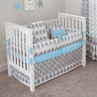 Designer Custom Made   Ele Blue 5pc Crib Bedding by sofiabedding