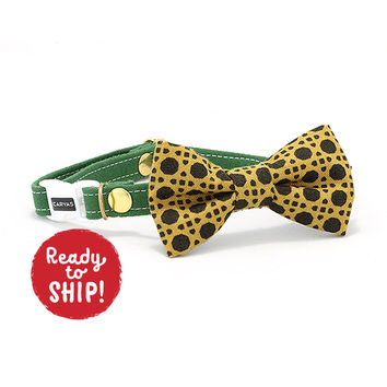 Benjamin Cat Bow Tie Collar - Green Yellow Mustard - Breakaway Safety Buckle - Sizes for Cat, Kitten, Dog