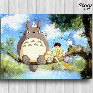 my neighbor totoro print anime poster manga watercolor