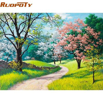 RUOPOTY Cherry Blossoms Road DIY Painting By Numbers Kits Handpainted Abstract Oil Painting Home Decor Wall Art Picture 40x50CM