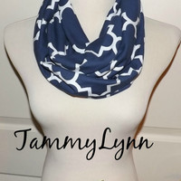 NEW Quatrefoil Navy Oxford Blue Infinity Scarf Lightweight Jersey Knit Soft Double Loop Scarf Women's Accessories