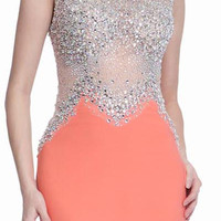 PRIMA 17-20267 Orange Jeweled Sheer Illusion Jersey Prom Dress