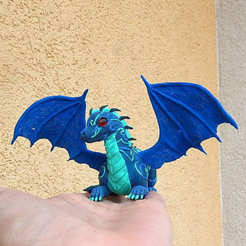Blue dragon figurine, Blue dragon sculpture, fantasy animal dragons, collectible figurine, mythical creatures, handmade dragon of clay