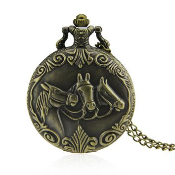 Three Horses Steampunk Quartz Pocket Watch