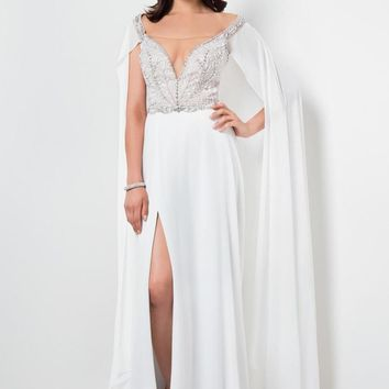 Terani Couture - Elegant Jewelled Illusion Neck Polyester A-Line Gown 1711P2382