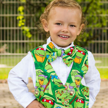 Teenage Mutant Ninja Turtles - Boys Vest - Boys Bow Tie - Toddler Vest - Boys Birthday Outfit - Boys Clothing - TMNT - Cake Smash
