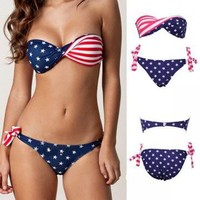 USA FLAG STARS STRIPES PADDED BIKINI 2 PIECE SWIMMING BATHING SUITS by boutiqueclothing