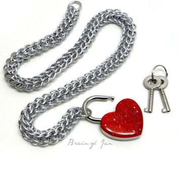 Locking Slave Collar Silver Aluminum with Sparkly Red Heart Shaped Padlock