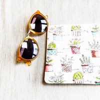 Mothers Day Gift - Cactus Fabric Zipper Pouch - Cactus Cosmetic Case - Cactus Pencil Case - Gift for Grad - Cactus Pouch - Gift for Teacher