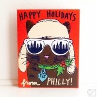 Philly Cool Cat Holiday Greeting Card