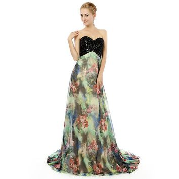 Black Sequined Sweetheart Print Chiffon Prom Dresses Long Backless Court Train