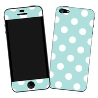 "White Polka Dot on Turquoise ""Protective Decal Skin"" for iPhone 5"