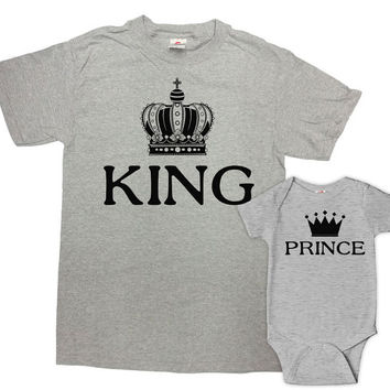 Father Son Matching Shirts Daddy And Me Clothing Matching Outfits Father And Son Gift Family T Shirts King And Prince Bodysuit - SA627-628