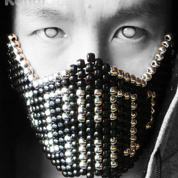 Silver Metallic Bane Kandi Mask Made For Ravers By Raver, Rave wear and accessories, For music festivals, edc, ultra, electric carnival,