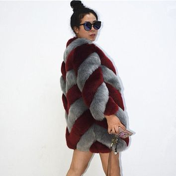 ZADORIN 2018 Designer Brand Luxury Faux Fox Fur Coat Women Plus Size Winter Coat Thick Warm Fake Fur Jacket Coats chaqueta mujer